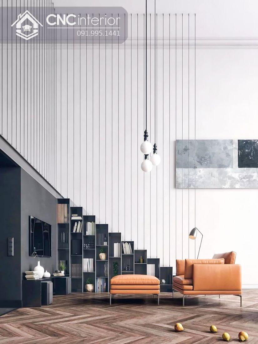 Trang trí cầu thang phòng khách đẹp với hệ tủ dưới gầm đẹp mắt