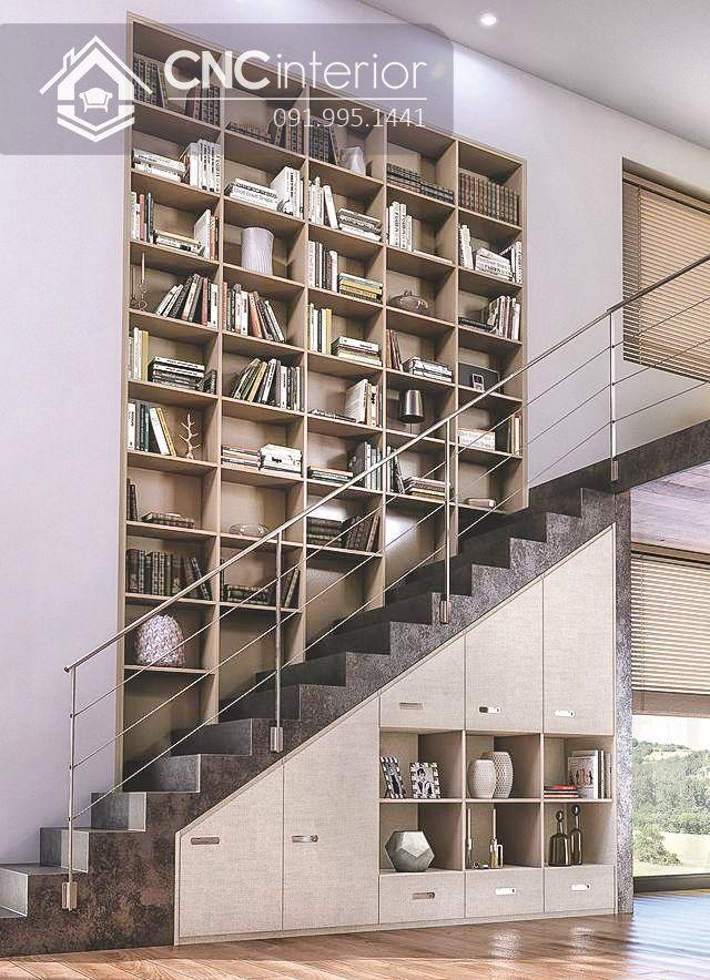 Thu hút với sắp xếp giá sách tại lối cầu thang phòng khách