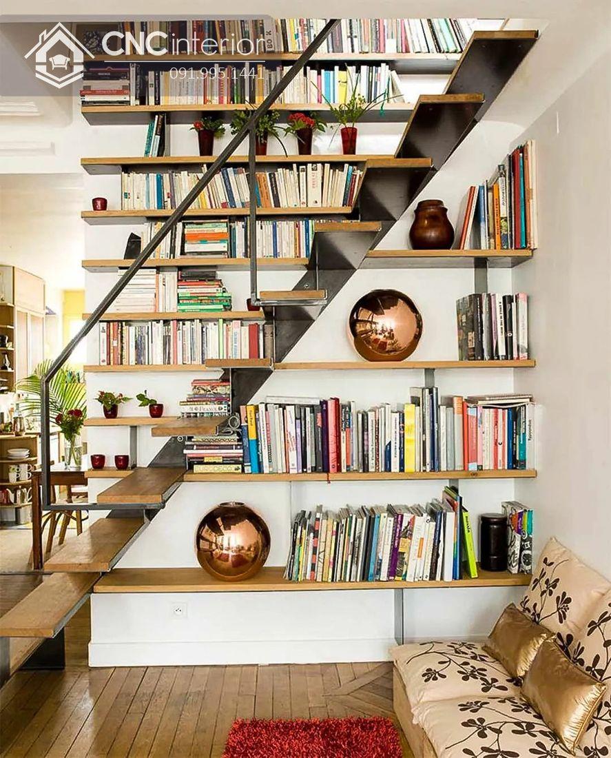Trang trí cầu thang phòng khách đẹp cùng giá sách