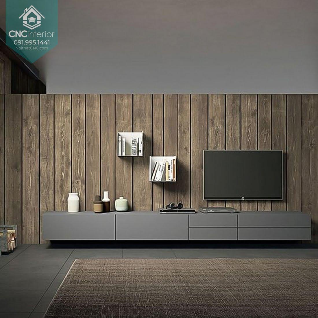 Mẫu gỗ ốp tường phòng khách