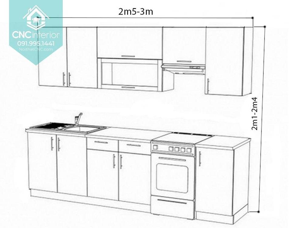 Kích thước tủ bếp treo tường 1