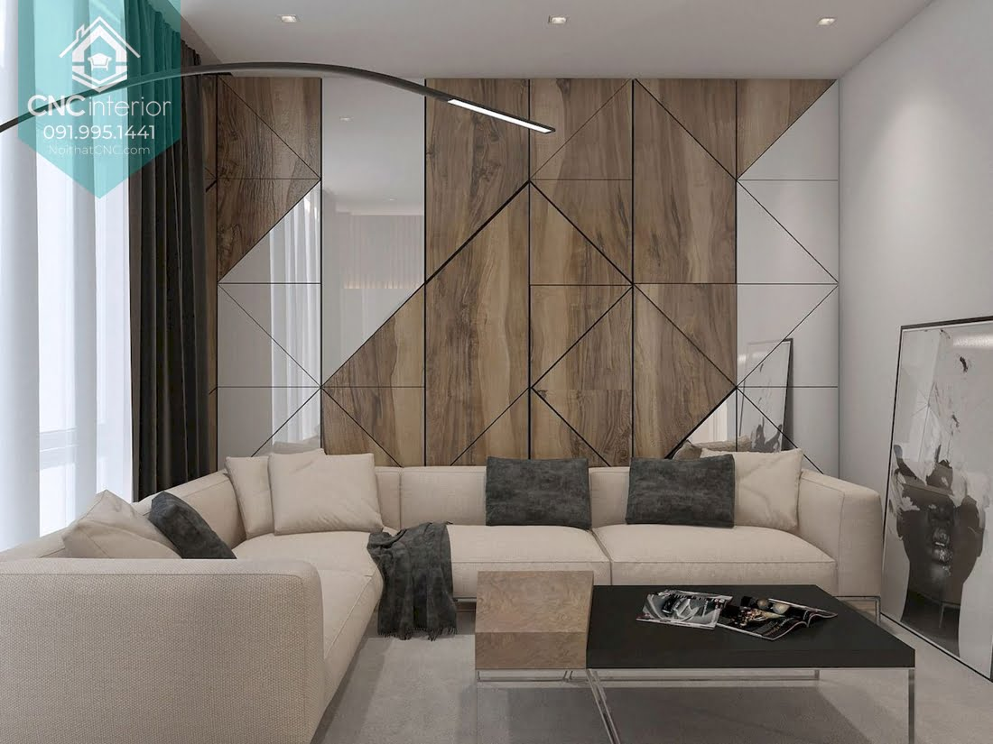 Các hình đa giác góc cạnh tạo nên mẫu ốp tường hiện đại