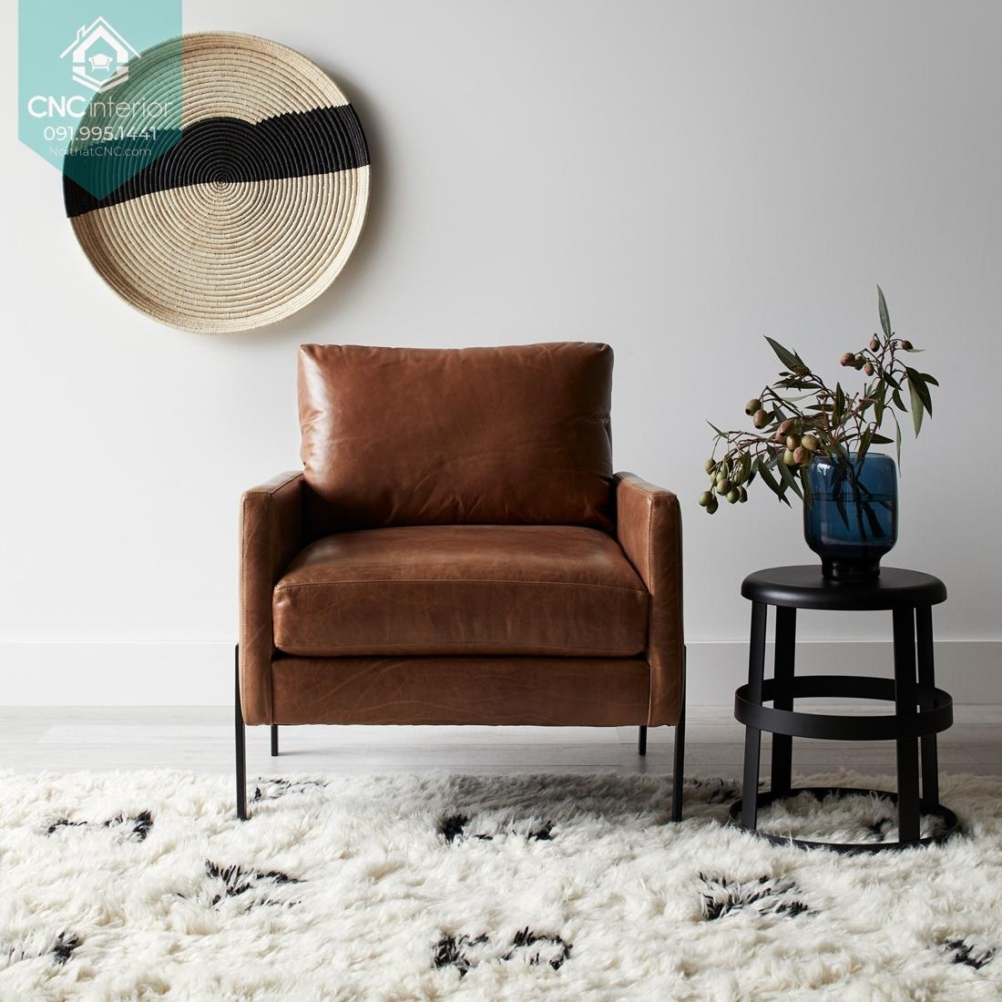 Sofa đơn cho phòng khách chung cư nhỏ với thiết kế hiện đại
