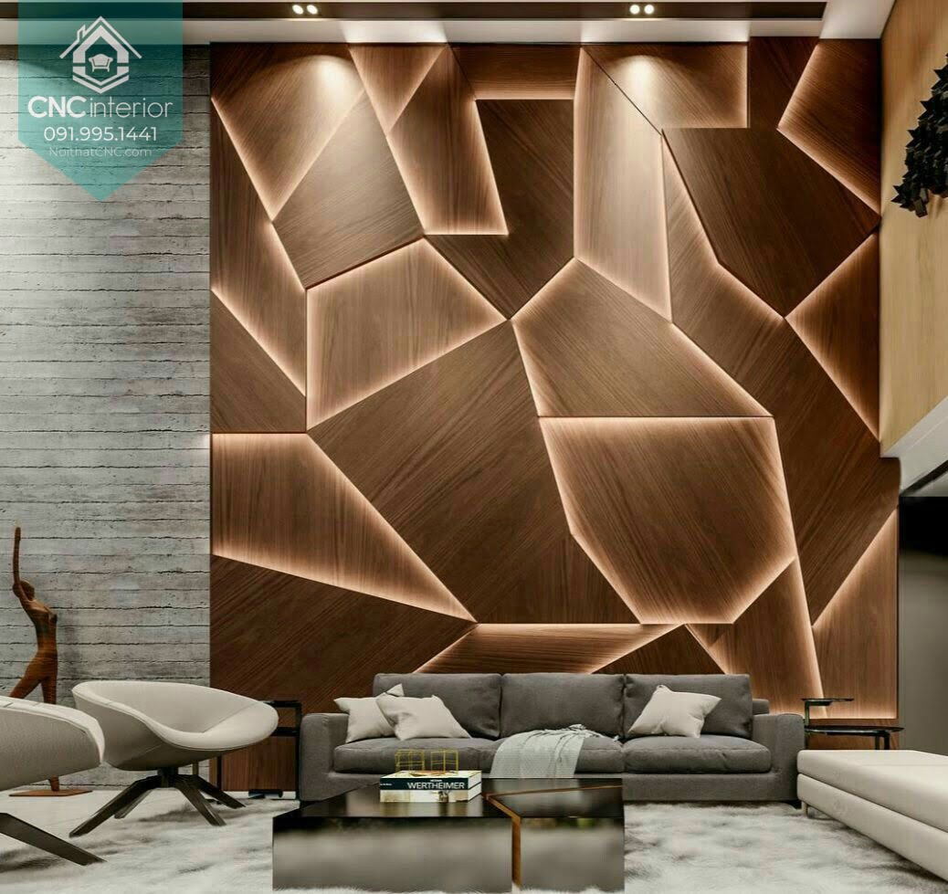 Những ai thích sự phá cách chắc chắn sẽ thích mẫu gỗ ốp tường có hình dạng ngẫu nhiên này
