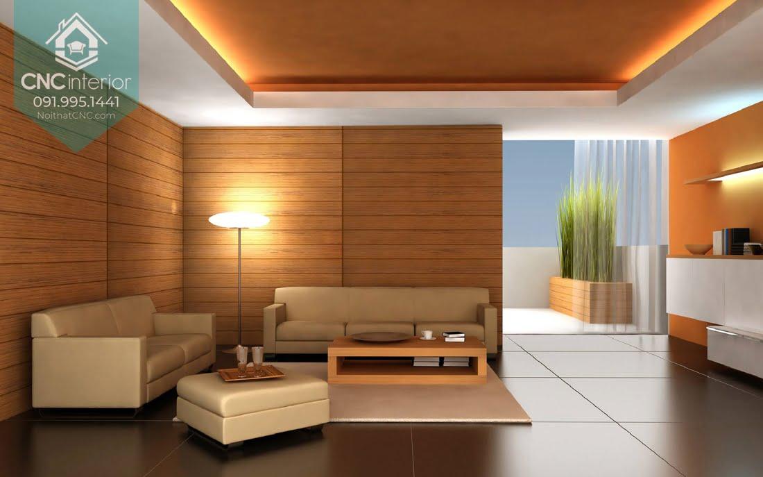 Trang trí tường phòng khách bằng gỗ Pơ mu màu vàng sáng tự nhiên