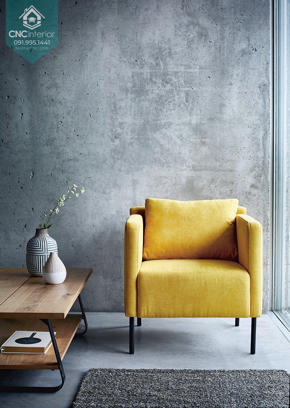Bàn ghế phòng khách chung cư nhỏ màu sắc tươi sáng
