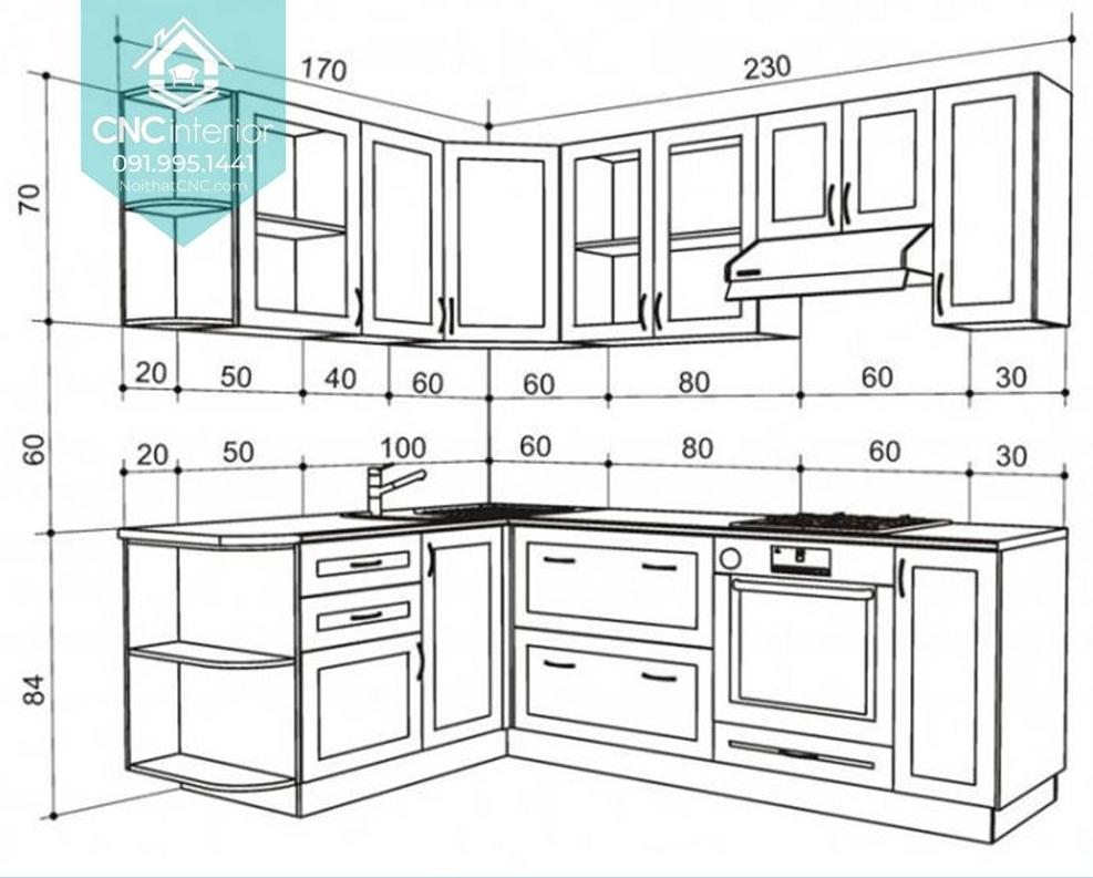Kích thước tủ bếp treo tường 2