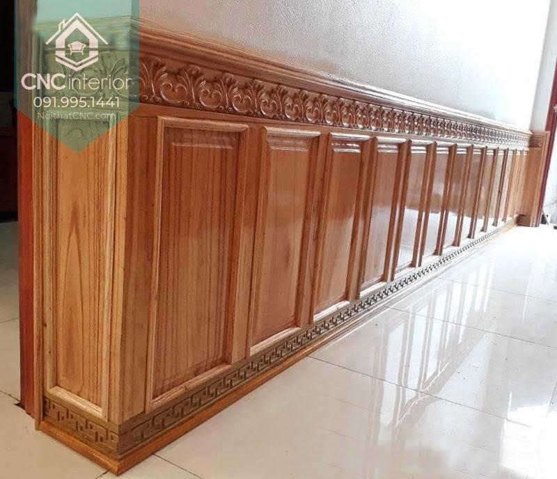 Mẫu gỗ ốp tường phòng khách 3