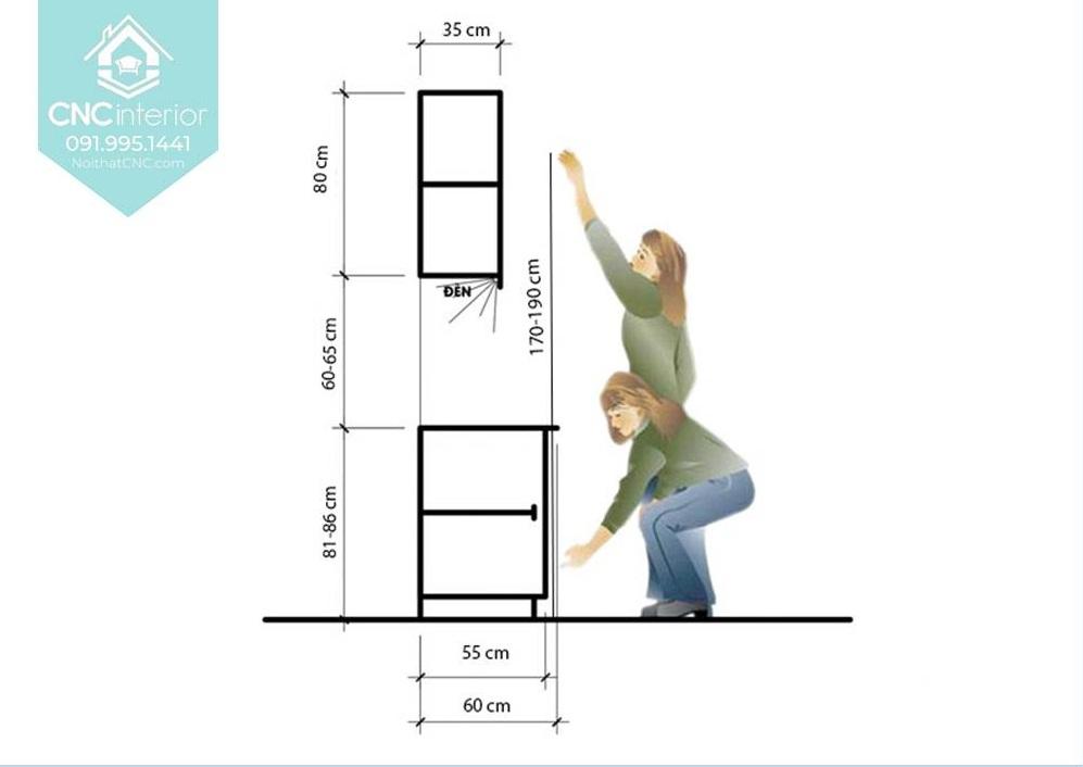 Kích thước tủ bếp treo tường 3