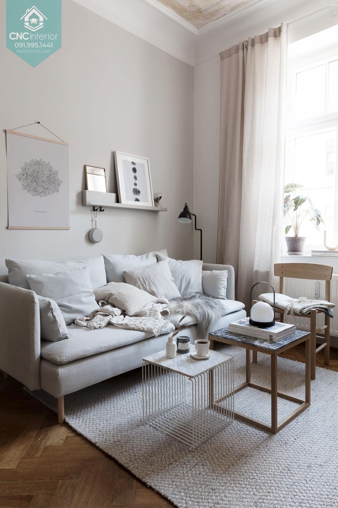 Bàn ghế phòng khách chung cư nhỏ