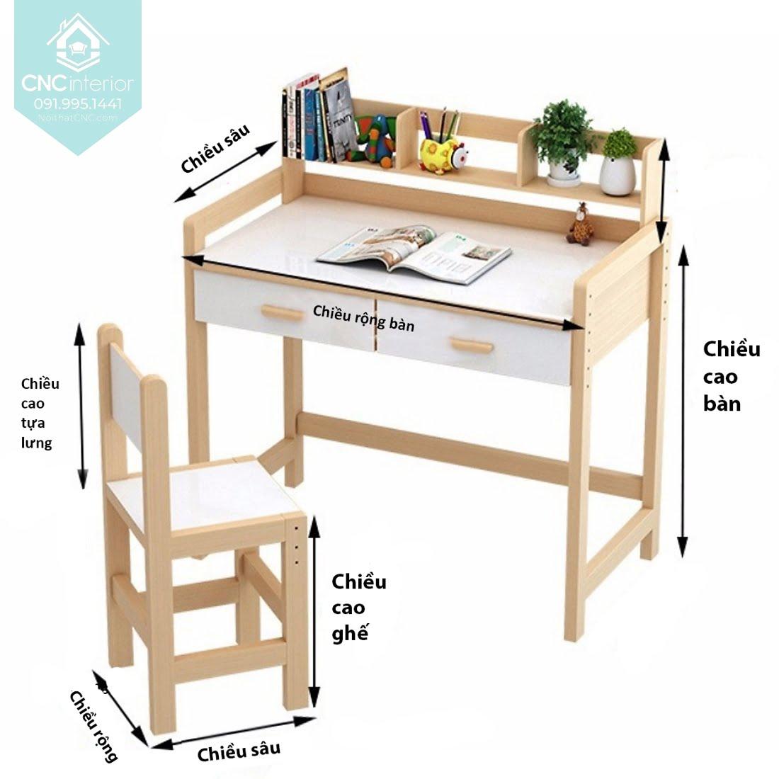 Kích thước bàn học trẻ em 4
