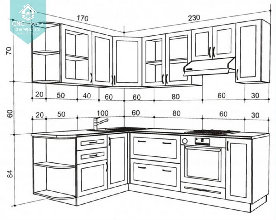 Diện tích phòng bếp bao nhiêu là hợp lý 1