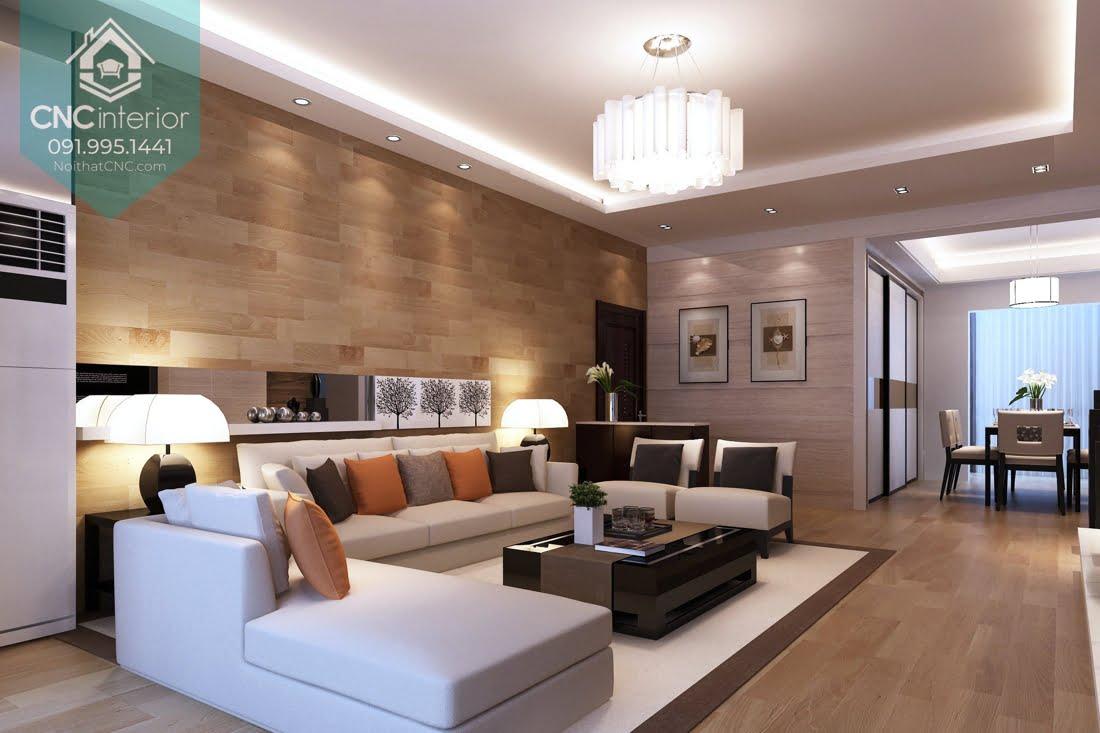 Trang trí tường phòng khách bằng gỗ 1