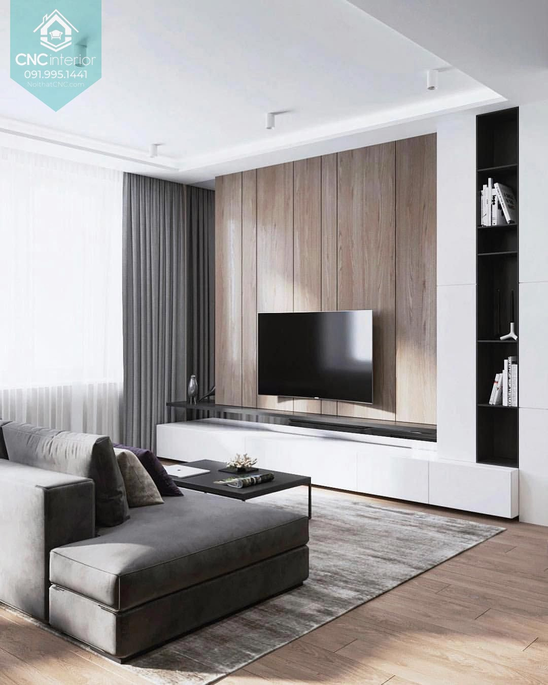 Trang trí tường phòng khách bằng gỗ 3