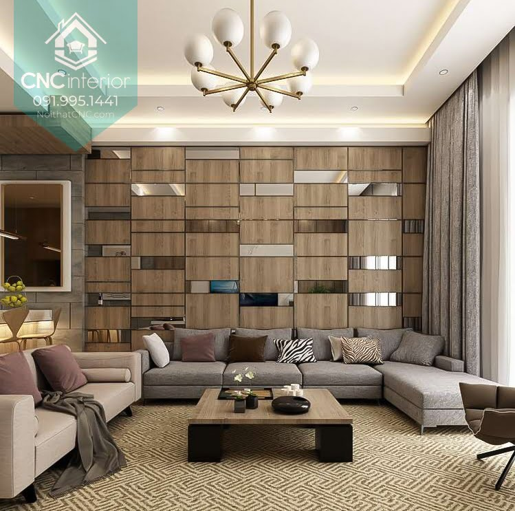 Trang trí tường phòng khách bằng gỗ 4