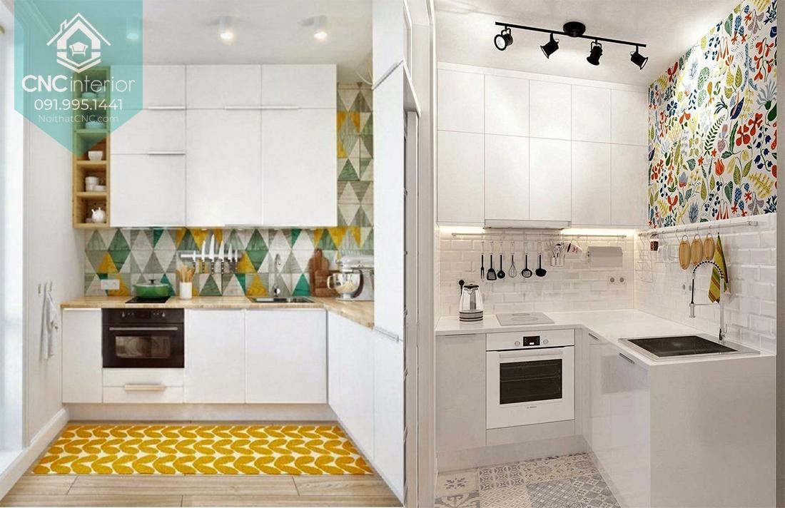 Sử dụng decal màu sắc là gian bếp sinh động bắt mắt hơn