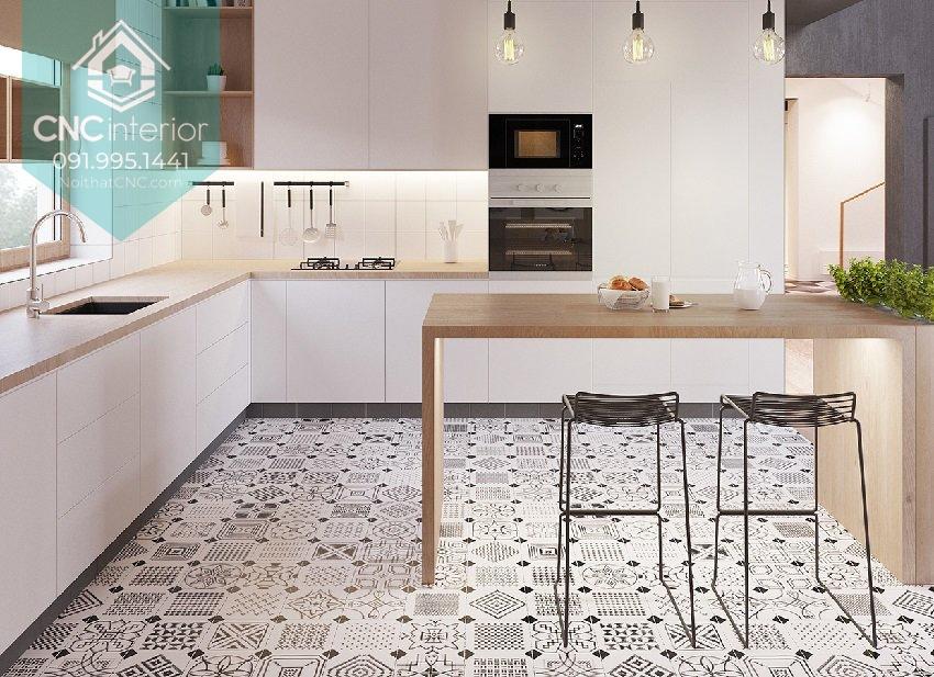 Sàn nhà họa tiết hơi rối mắt nên chỉ sử dụng cho bếp có diện tích dư dả