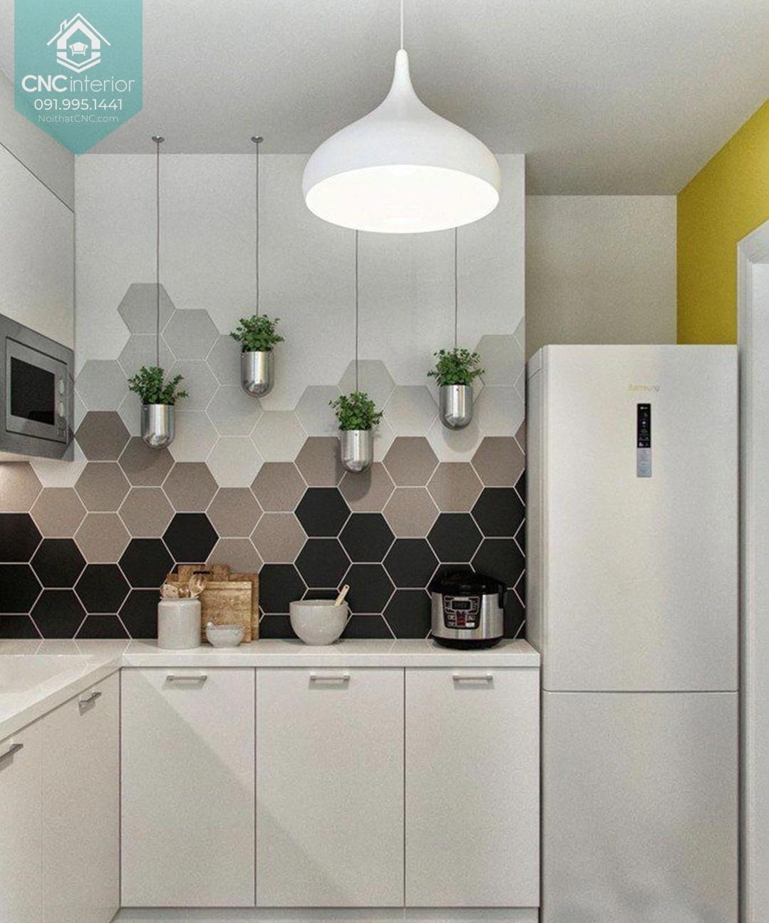 Các kiểu trang trí phòng bếp nhấn vào bức tường
