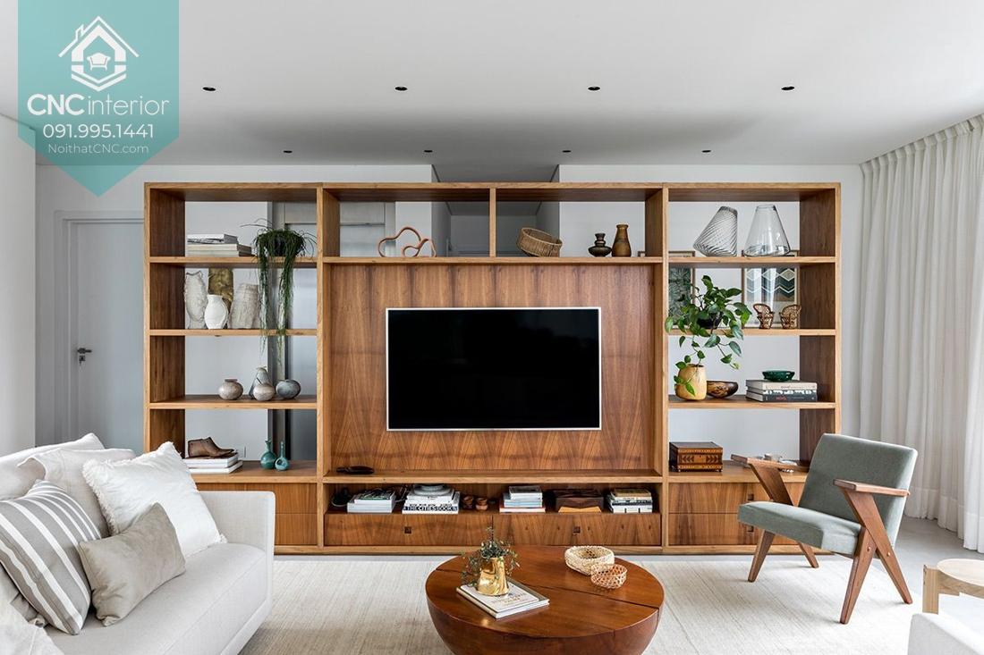 Vách ngăn phòng khách kết hợp kệ tivi