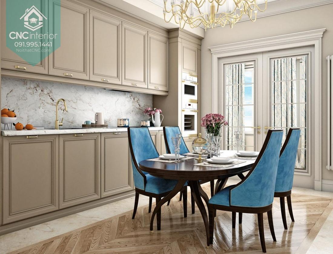 Bộ bàn ăn tân cổ điển màu xanh bắt mắt, thiết kế độc đáo và sang trọng