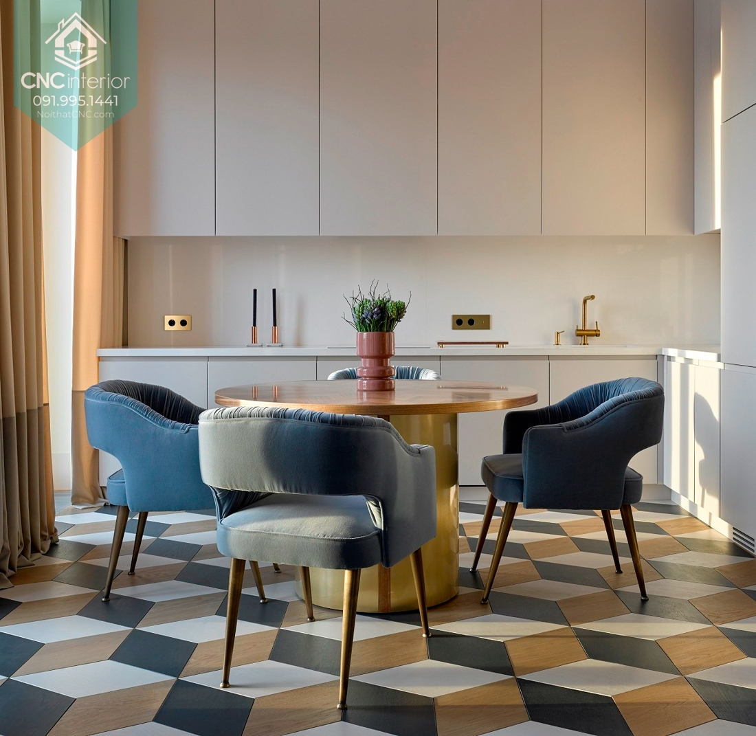 Nhấn nhá màu sắc vào sàn phòng ăn cũng là một cách trang trí thú vị làm phòng ăn hiện đại nổi bật hơn