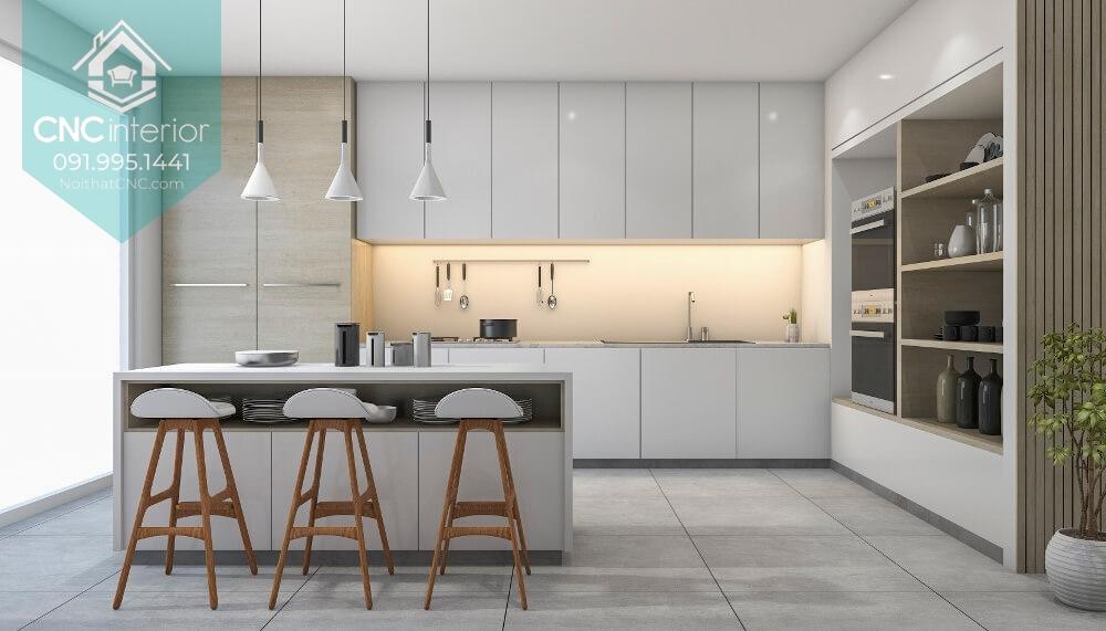 Bàn đảo phù hợp với phòng bếp chung cư đẹp và rộng