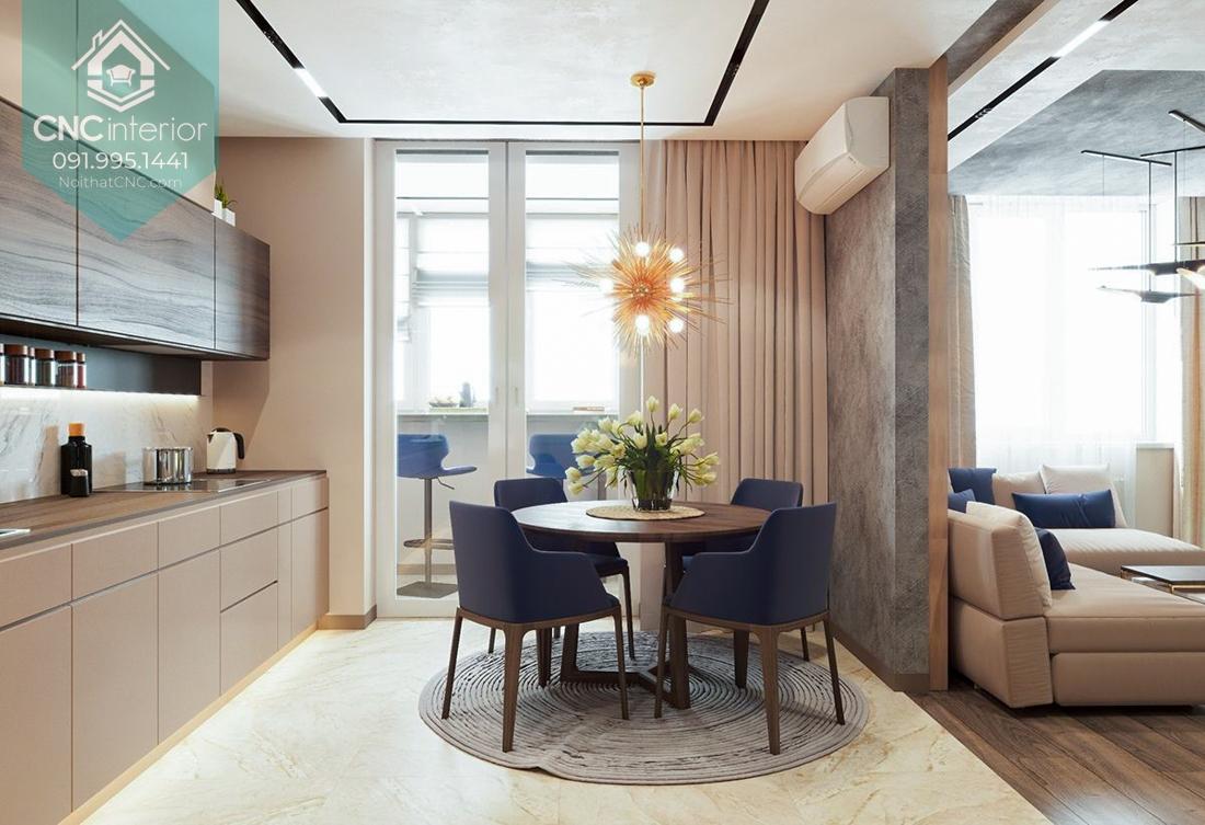 Đồng bộ về màu sắc và thiết kế nội thất giữa bếp, nơi ăn uống và phòng khách