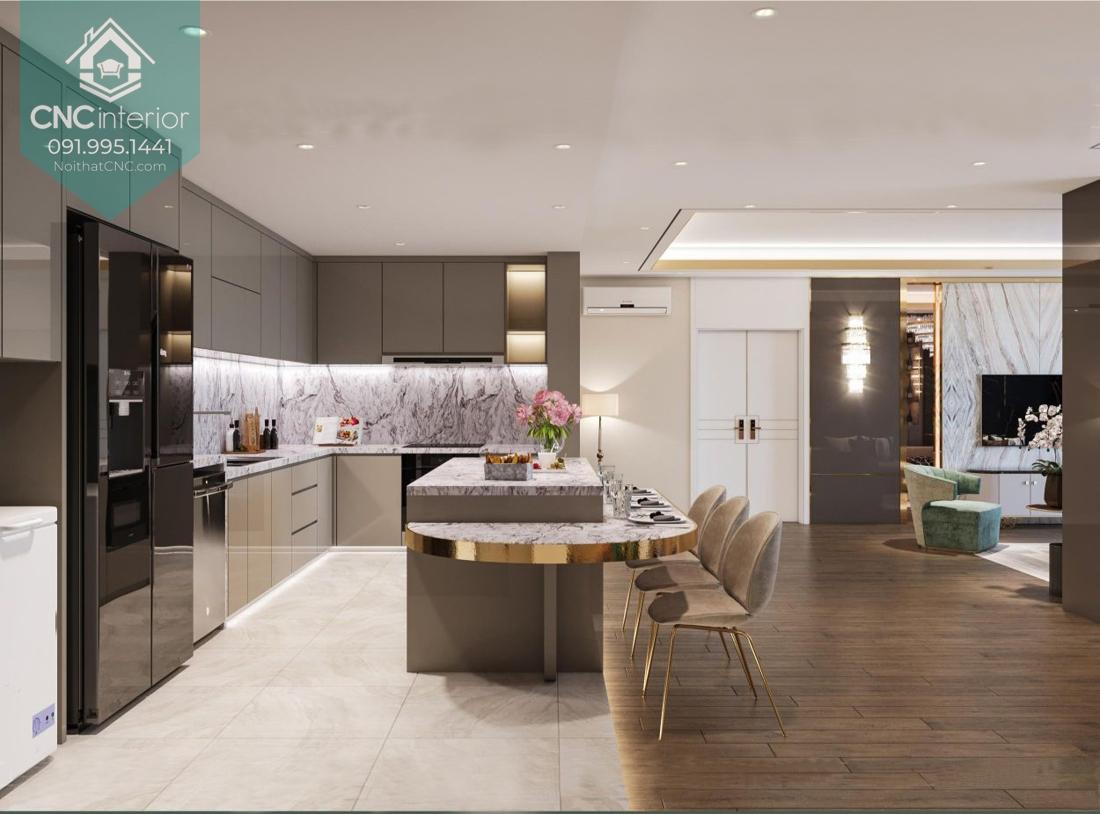 Bàn đảo trong căn hộ chung cư rộng rãi sang trọng và đẳng cấp