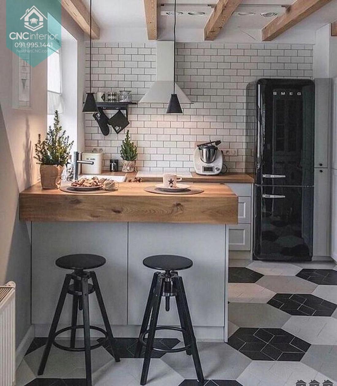 Không gian nấu ăn tiện nghi và đẹp mắt