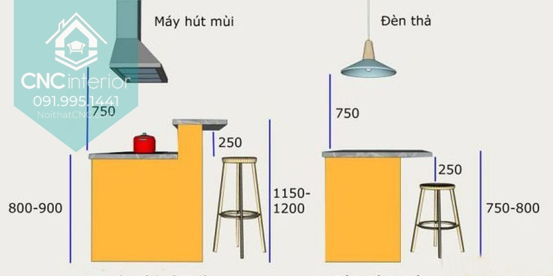 Quầy bar mini trong bếp