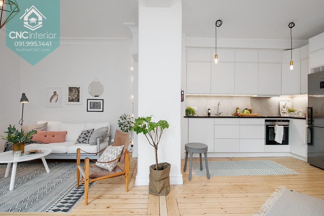 Vẻ đẹp tăng lên gấp bội với phòng bếp chung cư và phòng khách có thiết thống nhất