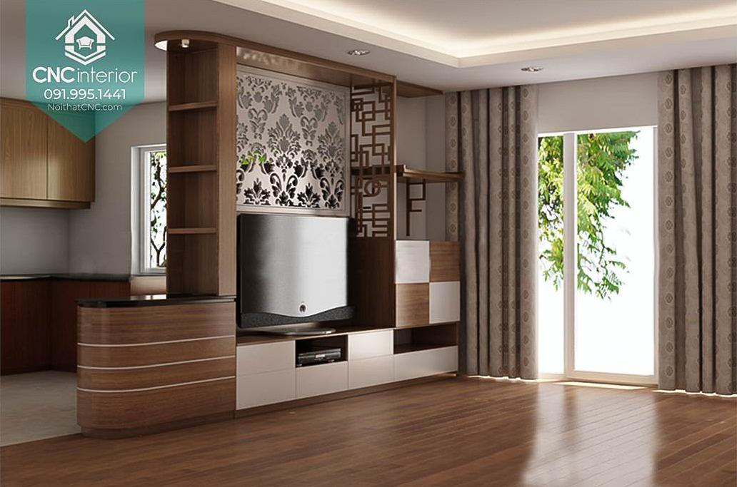 Vách ngăn phòng khách có kệ tivi