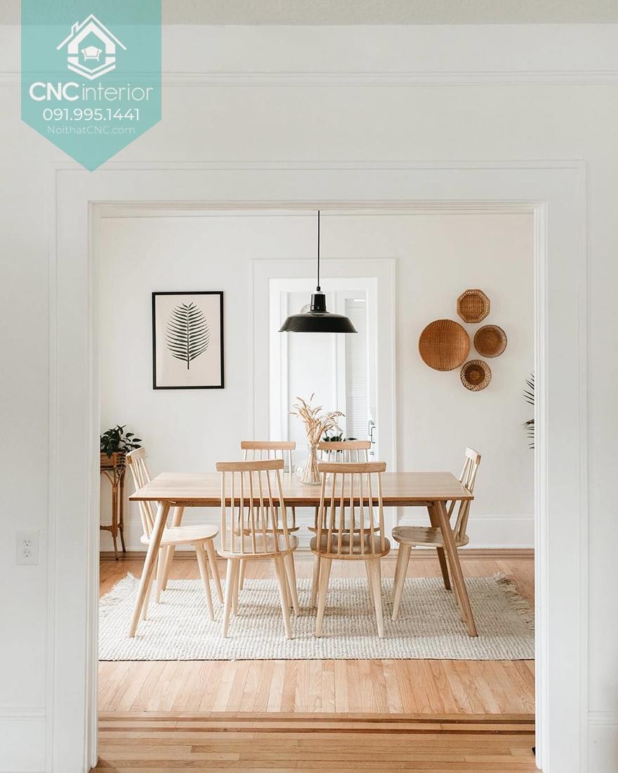 Bộ bàn ăn gỗ gọn gàng ấm cúng tạo cảm giác ngon miệng