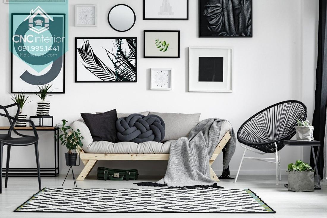 Mảng tường cá tính với tranh monocrom