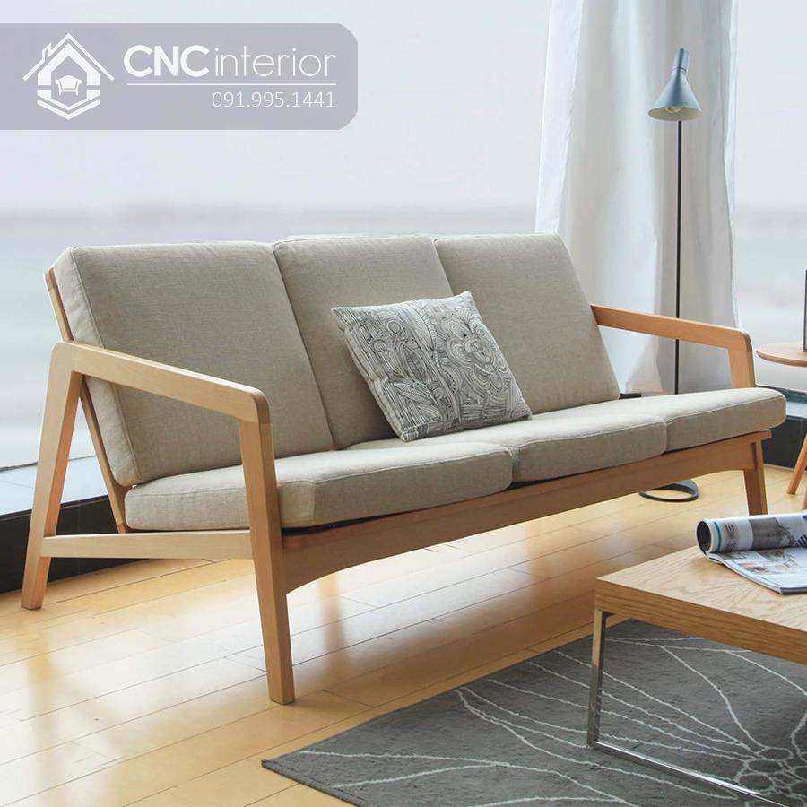 Sofa gỗ đẹp nhẹ nhàng cho phòng khách CNC 03