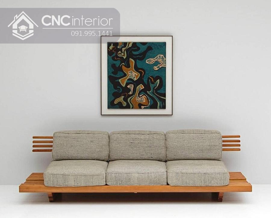 Sofa gỗ chữ I đẹp ấn tượng CNC 15