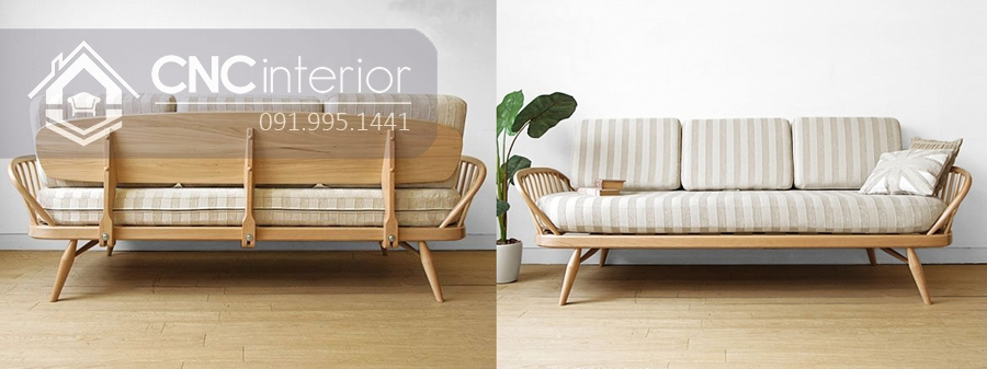 Ghế sofa gỗ sồi uốn cong bắt mắt CNC 22