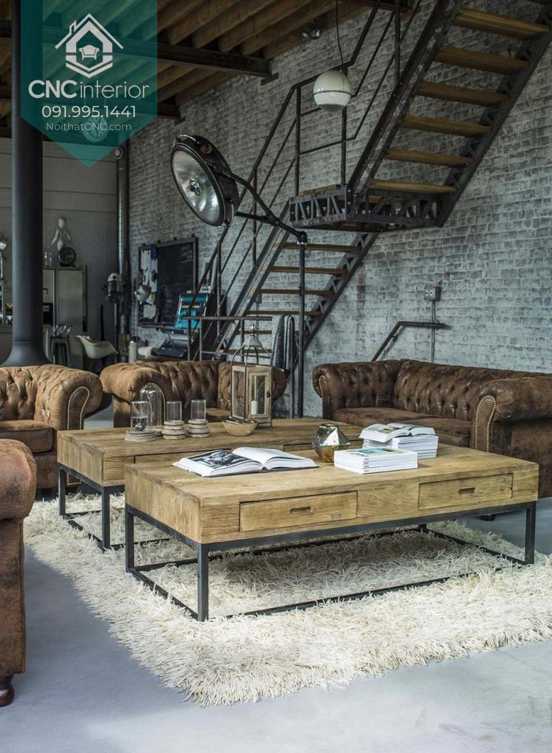 Phòng khách độc đáo và cá tính mang phong cách công nghiệp