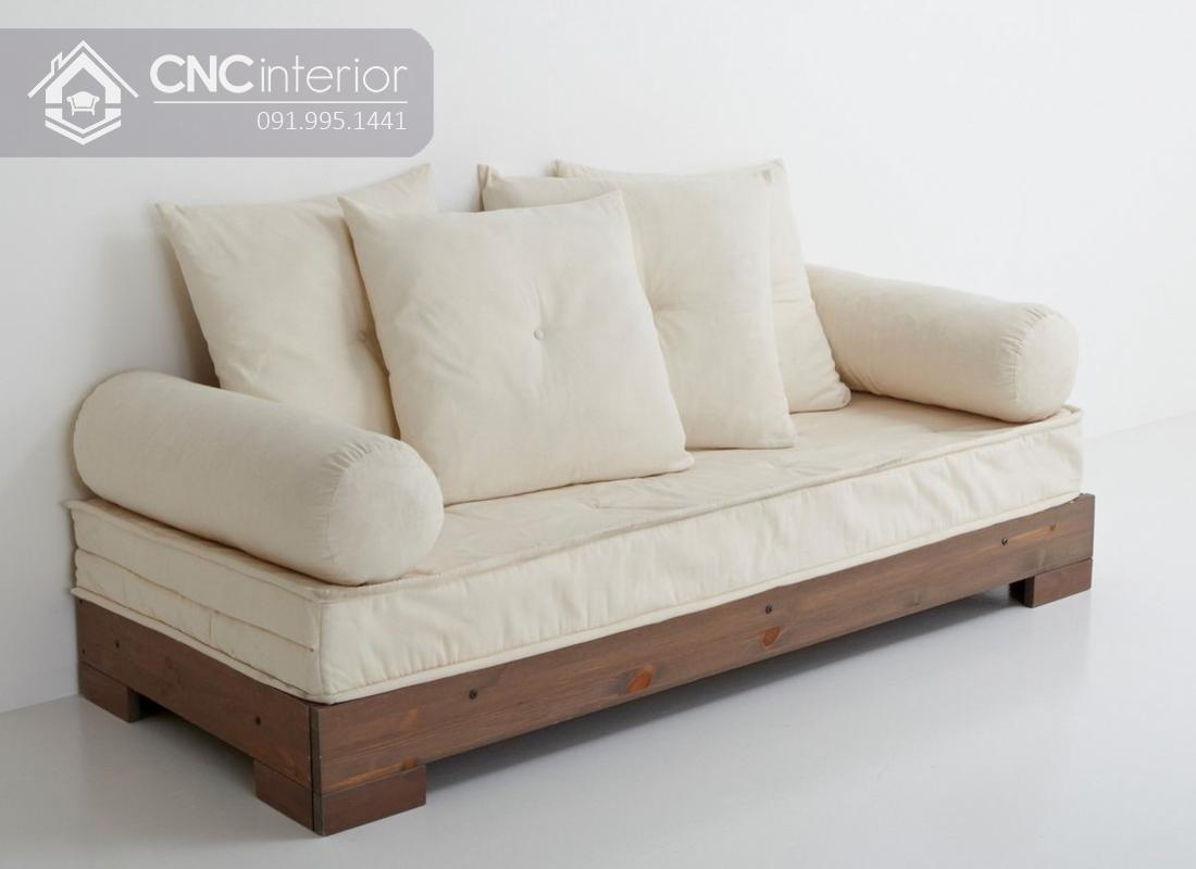 Sofa gỗ chữ I chân thấp đẹp đa năng CNC 32 1