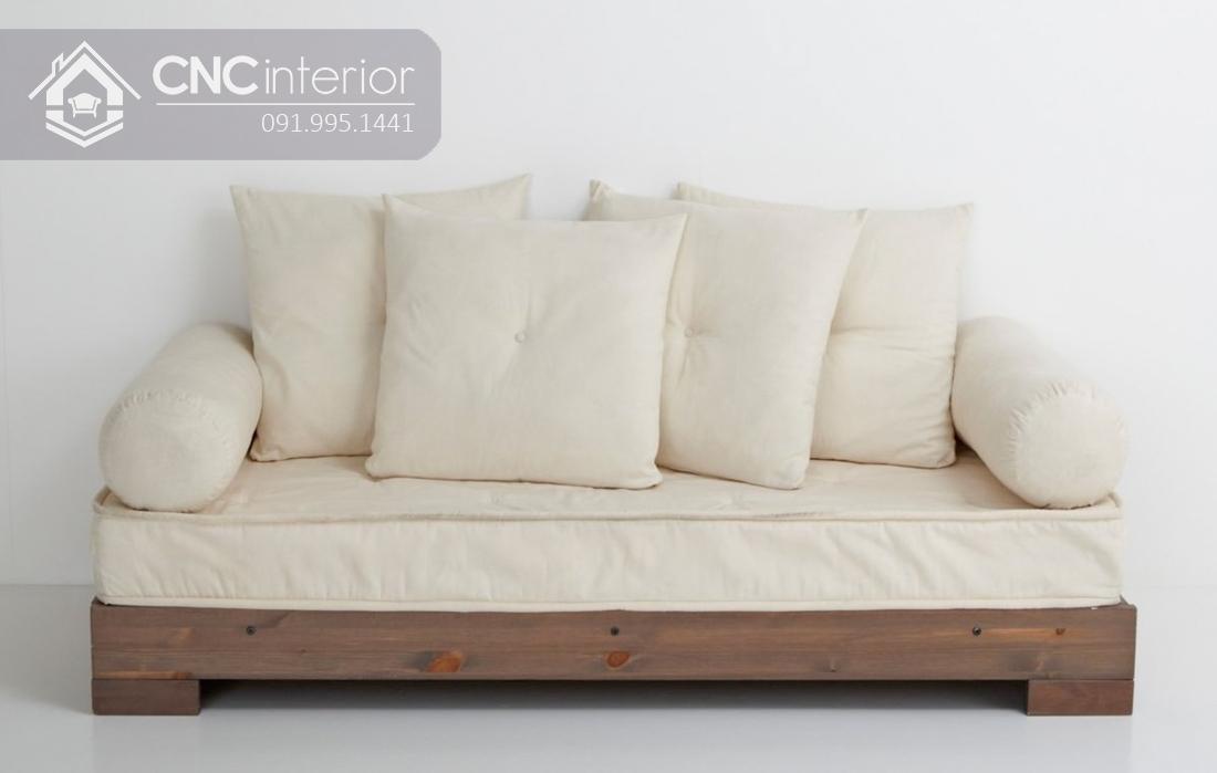Sofa gỗ chữ I chân thấp đẹp đa năng CNC 32 3