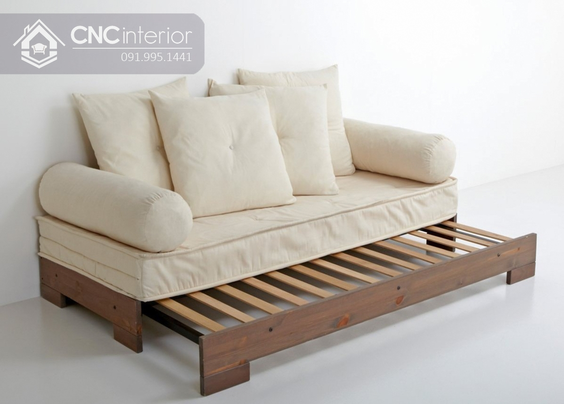 Sofa gỗ chữ I chân thấp đẹp đa năng CNC 32 4