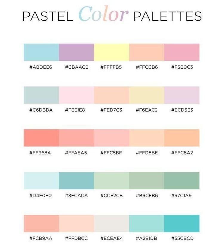 Bảng màu pastel đa dạng