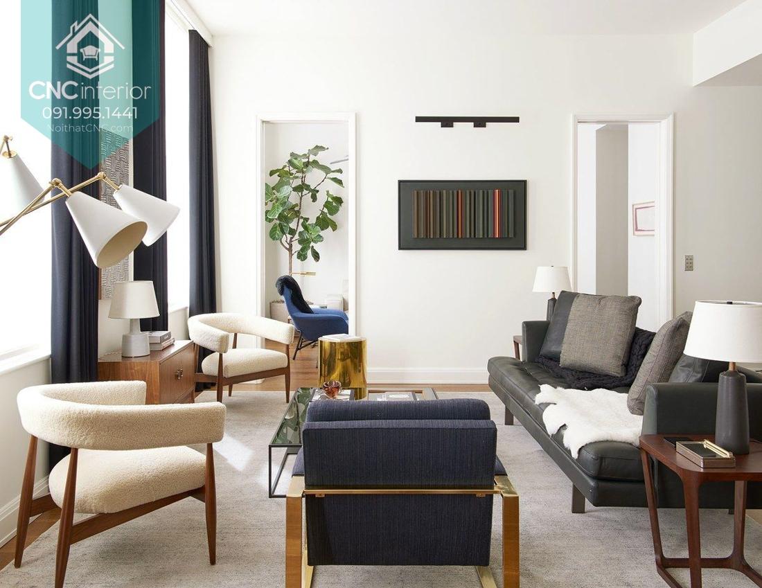 Màu sắc trung tính và đường nét cong tạo nên không gian đầy tính nghệ thuật