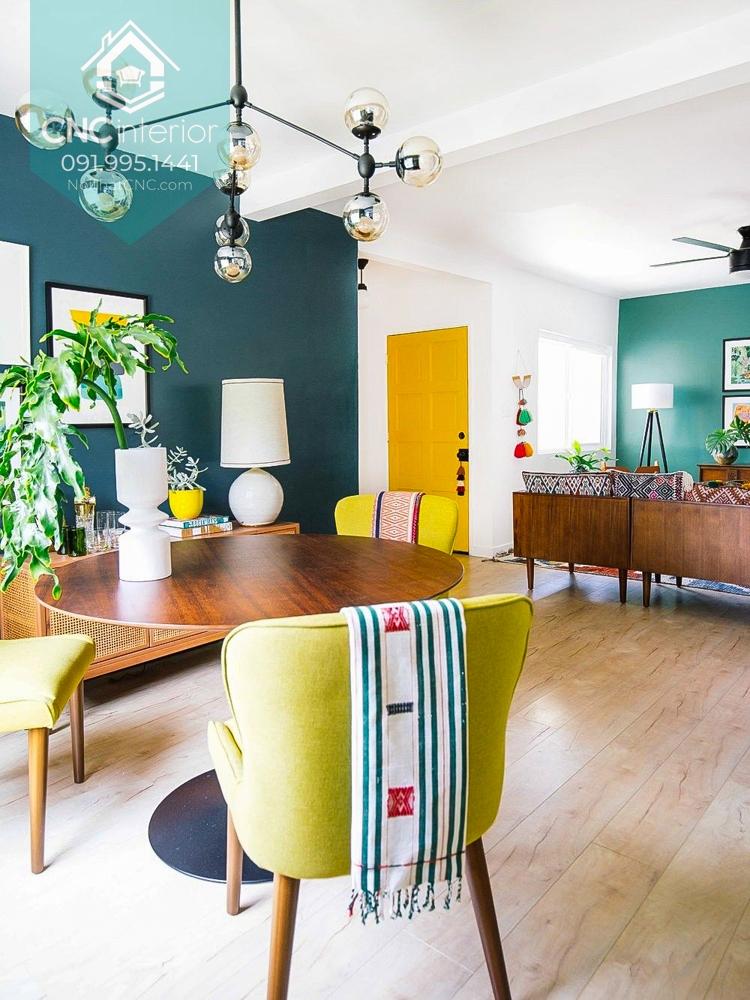 Phòng ăn phong cách nội thất Retro nổi bật