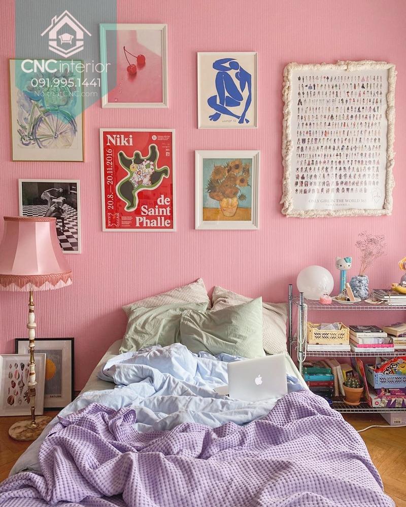 Phòng ngủ nhẹ nhàng với tông màu pastel
