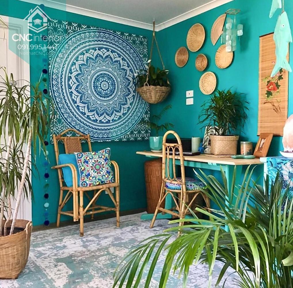 Những mảng tường trống nên được décor lại theo phong cách nội thất Bohemian