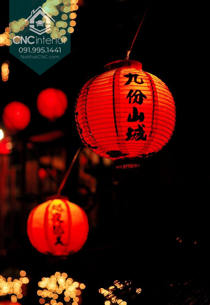 Đèn lồng Trung Quốc mang màu đỏ đặc trưng