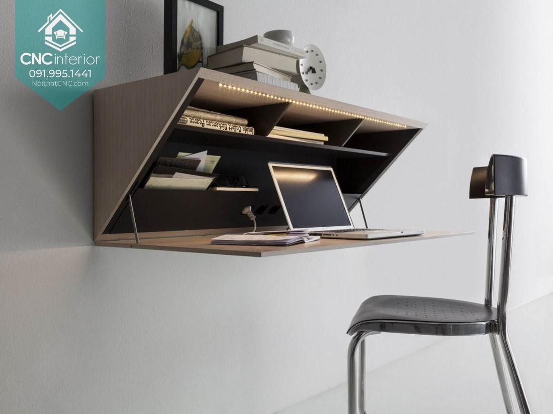 Mẫu bàn làm việc hiện đại treo tường thiết kế lạ mắt cho không gian sống