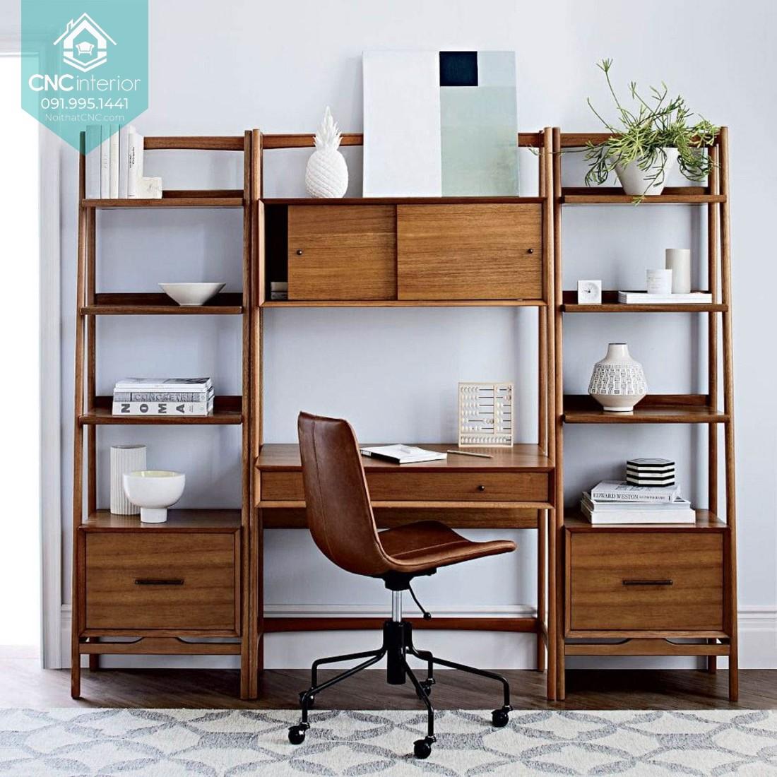 Tủ bàn làm việc hiện đại được thiết kế gồm ba phần được sắp xếp với nhau