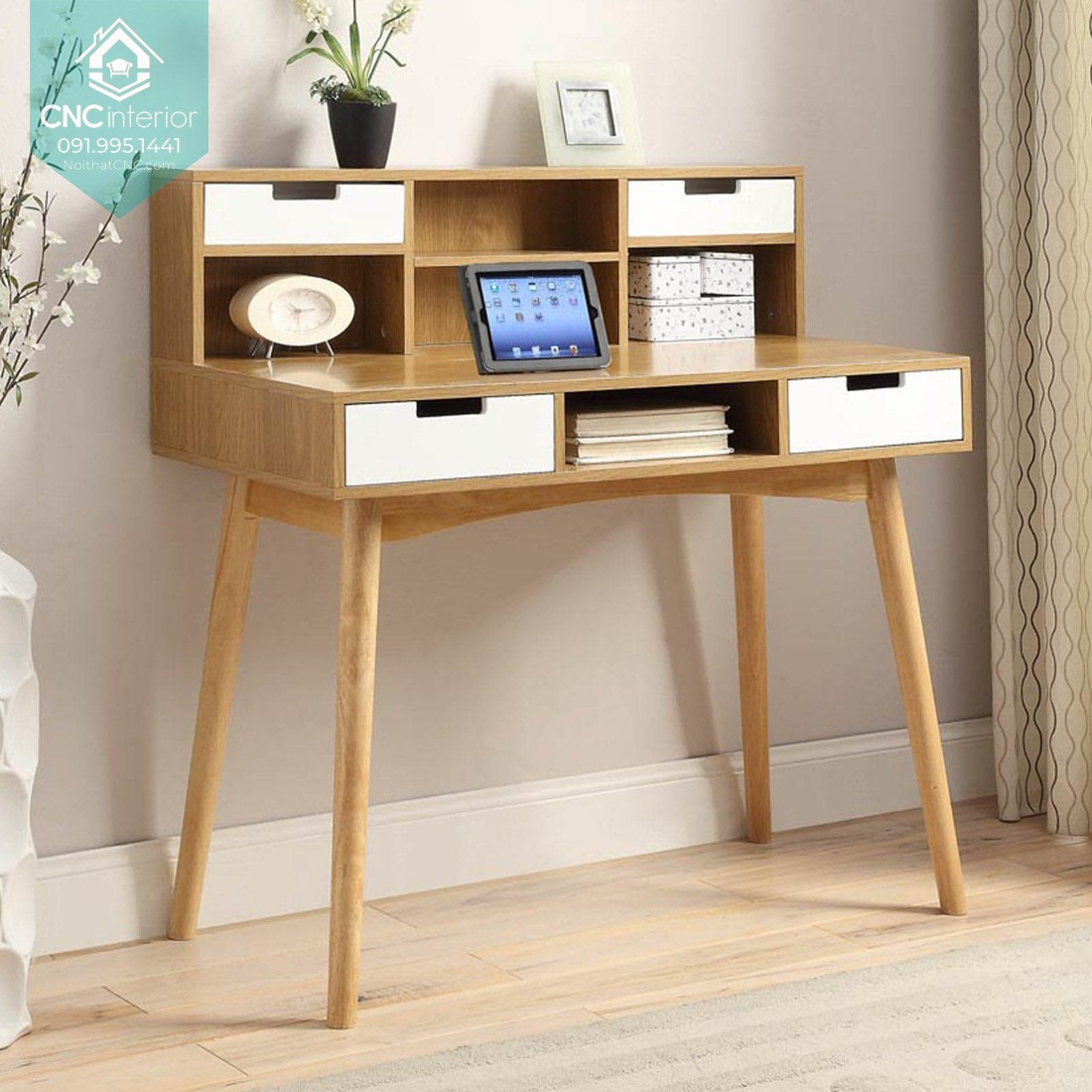 Thiết kế bàn làm việc trẻ trung năng động và nhỏ gọn